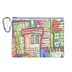 A Village Drawn In A Doodle Style Canvas Cosmetic Bag (l)