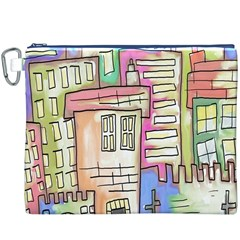 A Village Drawn In A Doodle Style Canvas Cosmetic Bag (XXXL)