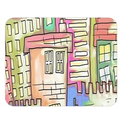 A Village Drawn In A Doodle Style Double Sided Flano Blanket (large)