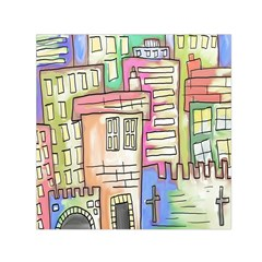 A Village Drawn In A Doodle Style Small Satin Scarf (Square)