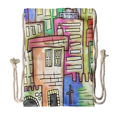 A Village Drawn In A Doodle Style Drawstring Bag (Large)