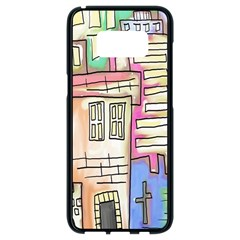 A Village Drawn In A Doodle Style Samsung Galaxy S8 Black Seamless Case