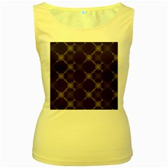 Abstract Seamless Pattern Background Women s Yellow Tank Top