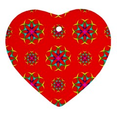 Rainbow Colors Geometric Circles Seamless Pattern On Red Background Ornament (Heart)