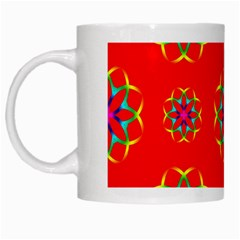 Rainbow Colors Geometric Circles Seamless Pattern On Red Background White Mugs