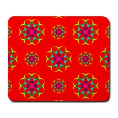 Rainbow Colors Geometric Circles Seamless Pattern On Red Background Large Mousepads