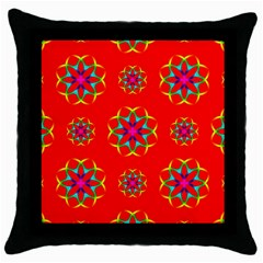 Rainbow Colors Geometric Circles Seamless Pattern On Red Background Throw Pillow Case (Black)