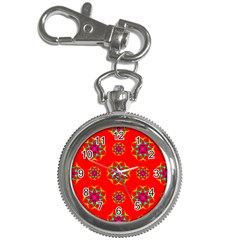 Rainbow Colors Geometric Circles Seamless Pattern On Red Background Key Chain Watches