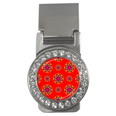 Rainbow Colors Geometric Circles Seamless Pattern On Red Background Money Clips (CZ)