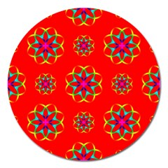 Rainbow Colors Geometric Circles Seamless Pattern On Red Background Magnet 5  (Round)
