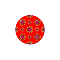Rainbow Colors Geometric Circles Seamless Pattern On Red Background Golf Ball Marker (4 Pack)