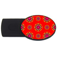 Rainbow Colors Geometric Circles Seamless Pattern On Red Background USB Flash Drive Oval (1 GB)