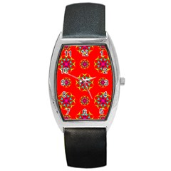 Rainbow Colors Geometric Circles Seamless Pattern On Red Background Barrel Style Metal Watch