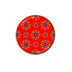 Rainbow Colors Geometric Circles Seamless Pattern On Red Background Hat Clip Ball Marker (4 pack)