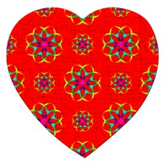 Rainbow Colors Geometric Circles Seamless Pattern On Red Background Jigsaw Puzzle (heart)