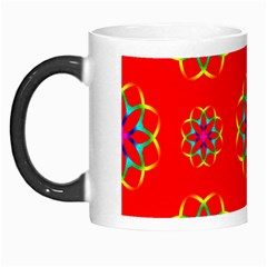 Rainbow Colors Geometric Circles Seamless Pattern On Red Background Morph Mugs