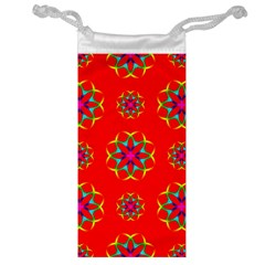 Rainbow Colors Geometric Circles Seamless Pattern On Red Background Jewelry Bag
