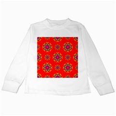 Rainbow Colors Geometric Circles Seamless Pattern On Red Background Kids Long Sleeve T Shirts