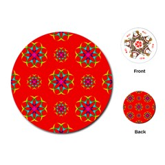 Rainbow Colors Geometric Circles Seamless Pattern On Red Background Playing Cards (Round)