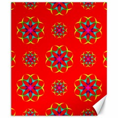Rainbow Colors Geometric Circles Seamless Pattern On Red Background Canvas 8  X 10