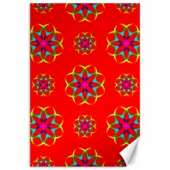 Rainbow Colors Geometric Circles Seamless Pattern On Red Background Canvas 24  x 36