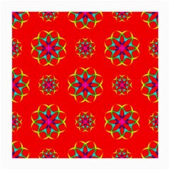 Rainbow Colors Geometric Circles Seamless Pattern On Red Background Medium Glasses Cloth (2 Side)