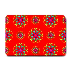 Rainbow Colors Geometric Circles Seamless Pattern On Red Background Small Doormat