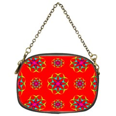Rainbow Colors Geometric Circles Seamless Pattern On Red Background Chain Purses (One Side)