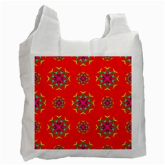 Rainbow Colors Geometric Circles Seamless Pattern On Red Background Recycle Bag (Two Side)