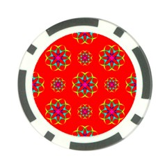 Rainbow Colors Geometric Circles Seamless Pattern On Red Background Poker Chip Card Guard (10 Pack)