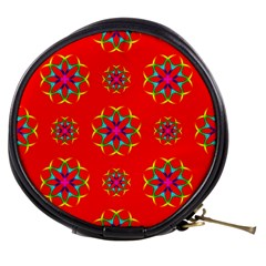 Rainbow Colors Geometric Circles Seamless Pattern On Red Background Mini Makeup Bags