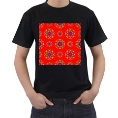Rainbow Colors Geometric Circles Seamless Pattern On Red Background Men s T-Shirt (Black)