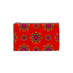 Rainbow Colors Geometric Circles Seamless Pattern On Red Background Cosmetic Bag (Small)