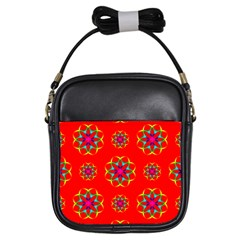 Rainbow Colors Geometric Circles Seamless Pattern On Red Background Girls Sling Bags