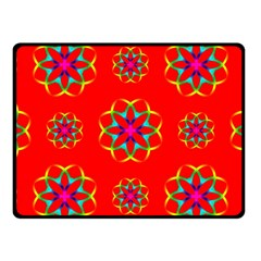 Rainbow Colors Geometric Circles Seamless Pattern On Red Background Fleece Blanket (Small)