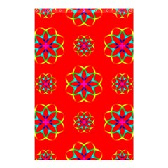 Rainbow Colors Geometric Circles Seamless Pattern On Red Background Shower Curtain 48  X 72  (small)