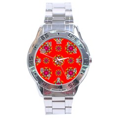 Rainbow Colors Geometric Circles Seamless Pattern On Red Background Stainless Steel Analogue Watch