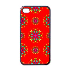 Rainbow Colors Geometric Circles Seamless Pattern On Red Background Apple iPhone 4 Case (Black)