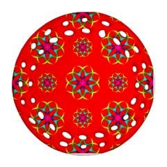 Rainbow Colors Geometric Circles Seamless Pattern On Red Background Round Filigree Ornament (two Sides)