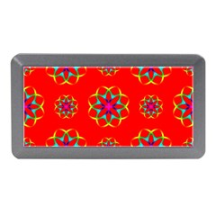 Rainbow Colors Geometric Circles Seamless Pattern On Red Background Memory Card Reader (Mini)