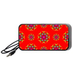 Rainbow Colors Geometric Circles Seamless Pattern On Red Background Portable Speaker (Black)