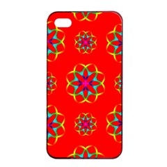 Rainbow Colors Geometric Circles Seamless Pattern On Red Background Apple iPhone 4/4s Seamless Case (Black)