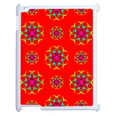 Rainbow Colors Geometric Circles Seamless Pattern On Red Background Apple Ipad 2 Case (white)