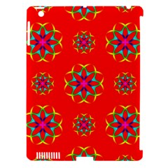 Rainbow Colors Geometric Circles Seamless Pattern On Red Background Apple Ipad 3/4 Hardshell Case (compatible With Smart Cover)