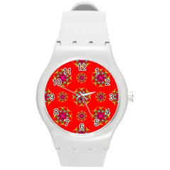 Rainbow Colors Geometric Circles Seamless Pattern On Red Background Round Plastic Sport Watch (M)
