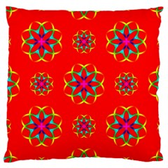 Rainbow Colors Geometric Circles Seamless Pattern On Red Background Large Cushion Case (One Side)