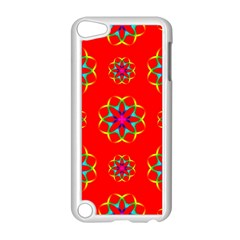 Rainbow Colors Geometric Circles Seamless Pattern On Red Background Apple Ipod Touch 5 Case (white)