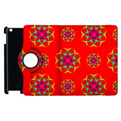 Rainbow Colors Geometric Circles Seamless Pattern On Red Background Apple Ipad 3/4 Flip 360 Case