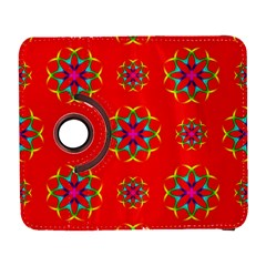 Rainbow Colors Geometric Circles Seamless Pattern On Red Background Galaxy S3 (flip/folio)