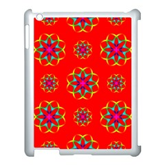 Rainbow Colors Geometric Circles Seamless Pattern On Red Background Apple iPad 3/4 Case (White)